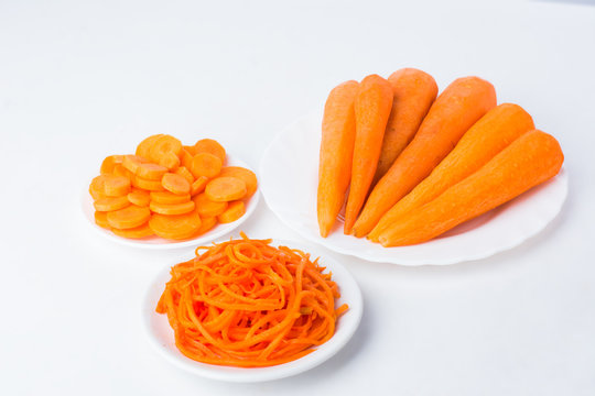 whole carrots sliced and shredded