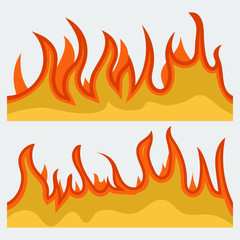 Horizontal bonfire template for web or brochure, explosion decoration. Fire banner set, fame backgrounds. Vector