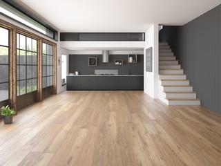 Obraz Interior empty room 3D rendering - fototapety do salonu