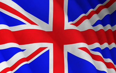 Illustration of a flying British flag