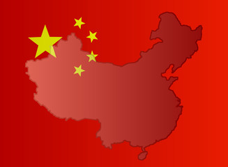 Illustration of a Chinese flag with a contour of its border