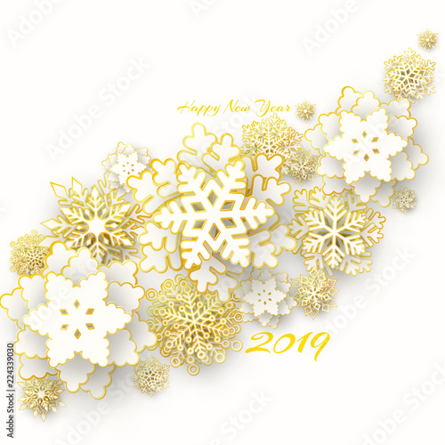 vector merry christmas and happy new year greeting card design with 3d white and gold layered