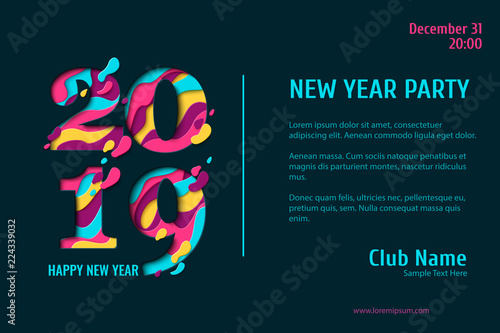 2019 Happy New Year paper craft holiday background  Vector