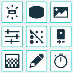 Picture icons set with wide angle, wb sunny, gradient and other monitor  elements. Isolated vector illustration picture icons.