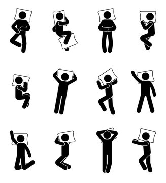 Stick figure man sleeping icon set. Deferent positions single male in bed pictogram