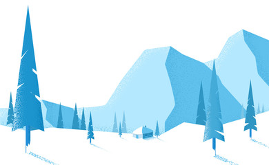 Winter blue landscape with mountains and fir trees.