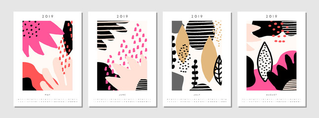 2019 Four Month Printable Calendar Template