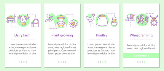 Agriculture onboarding mobile app page screen with linear concep