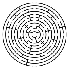 Abstract circle maze / labyrinth with entry and exit. Vector labyrinth 243.