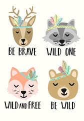 Vector image of cute cartoon animals in the style of Boho. Illustration of a deer, a fox, a raccoon, a bear for use as a print for children, on a Baby Shower, a banner, a postcard, a poster.
