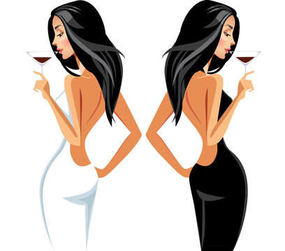 portrait lady with wineglass in hand in white and black dress, vector illustration fashionable glamour women in party clothes
