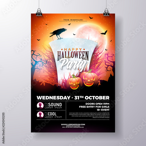 halloween party flyer vector illustration with tombstone and