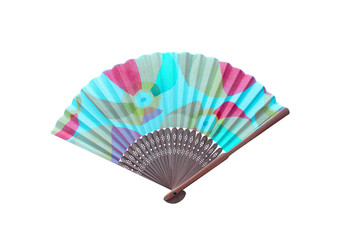 Top view multicolor wooden hand fan with rag isolated on white background