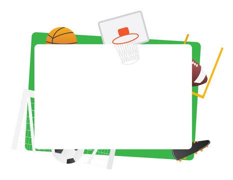 Team sports green frame isolated Basketball, football, basketball