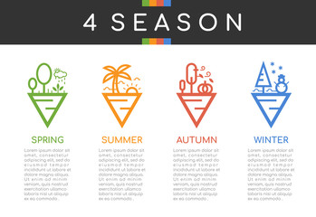 4 season icon sign with line border abstract triangle style spring summer autumn and winter sign vector design