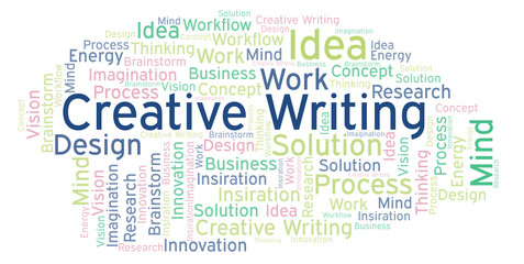 Creative Writing word cloud, made with text only.