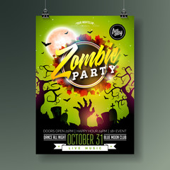 Halloween Zombie Party flyer illustration with cemetery, autumn leaves and moon on green background. Vector Holiday design template with zombie hand, tomstones and flying bats for party invitation