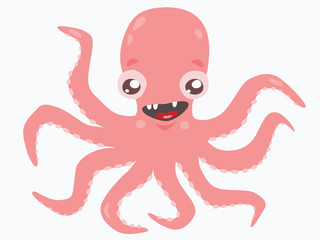 Cute pink octopus on white background