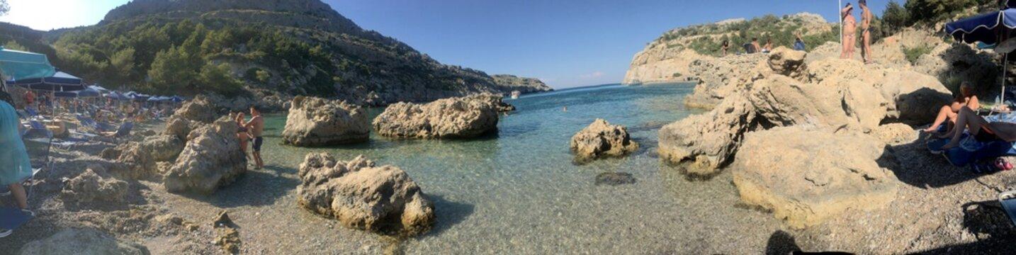 Rhodes Bay Anthony Quinn bay Aegean Sea Coast  Beach,Holiday, Summer, Swimming, Sun Bath