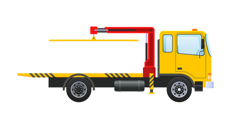 Tow truck with equipped hydraulic manipulator, lifting crane with platform.