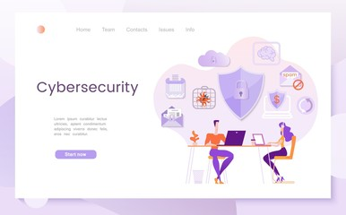 Cybersecurity, the concept of neutralizing cyber threats on the Internet, antivirus software. Modern flat vector illustration, Landing page template