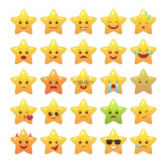 Star shaped comic emoticons isolated set. Smile faces with various facial expressions. Cute emoji symbols for internet chatting. Funny social communication and mood message vector elements.