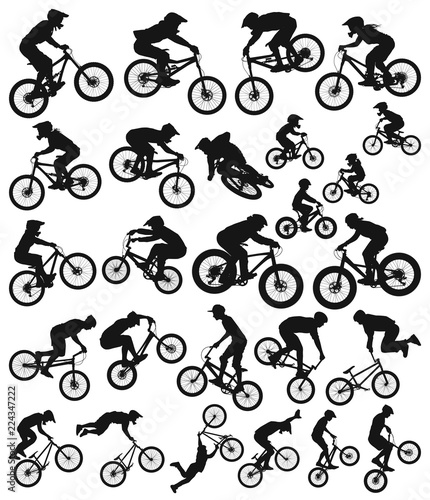 191b90d8c Downhill cross country freeride trial slopestyle dirt jump bmx and mountain bike  bicycles vector silhouette collection