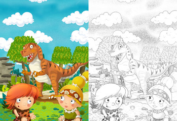cartoon scene with dinosaurs and cavemen in the jungle - with coloring page - illustration for children