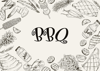 BBQ and grill banner with sketch objects isolated on white background. Hand drawn barbecue elements around decorative text. Grill menu design template.