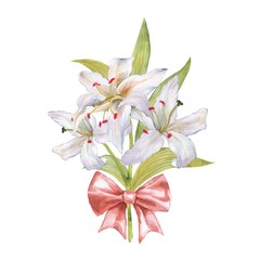 Watercolor bouquet of lily. White flowers and bow