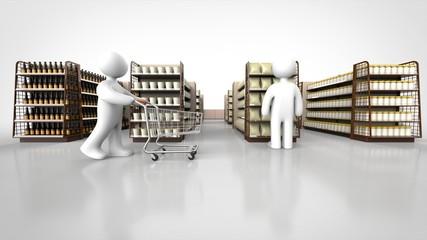 商品棚と顧客 正面