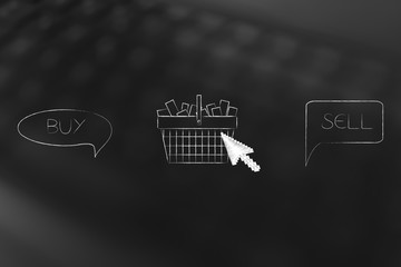 buy and resell products comic bubbles with shopping cart and cursor in between them