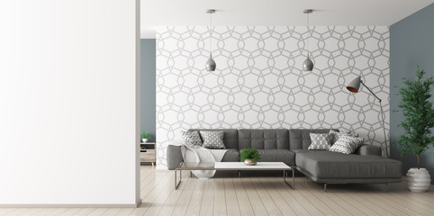 Interior of living room with sofa rendering Wall mural