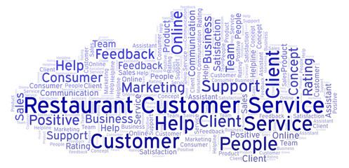 Restaurant Customer Service word cloud.