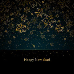 Christmas New Year background with gold snowflakes Text Happy New Year Blue winter background Christmas, New Year pattern of gold snowflakes Banner poster card template design holiday theme Vector art