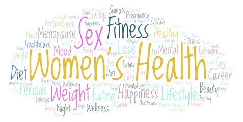 Word cloud with text Women's Health on a white background.