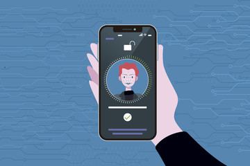 Man using face id technology on smart phone