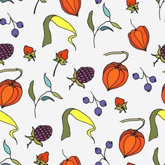 Autumn leaves seamless pattern. Hand drawn leaves, berries. Vector illustration.