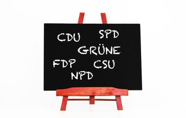 Deutsche Parteien Kreideschrift auf Tafel