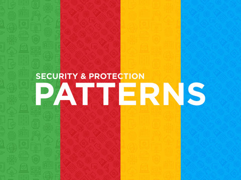 Four different Security and protection seamless patterns with thin line icons: mobile security, fingerprint, badge, firewall, face ID, secure folder, surveillance camera, keyset. Vector illustration.