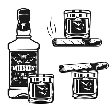 Whiskey bottle with glass and cigar vector objects