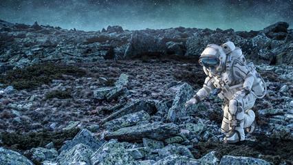 Astronaut on the Moon. Mixed media