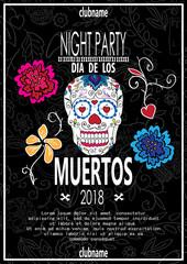 Dia de los muertos. Day of The Dead invitation with skull.