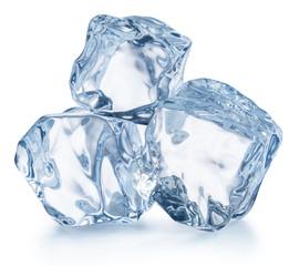 Three ice cubes. Macro shot. Clipping path.