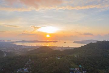aerial scenery sunrise at Chalong sea Phuket Thailand.