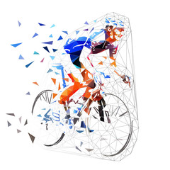 Road cycling, polygonal cyclist in blue jersey riding bike. Low poly vector illustration