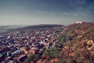 Aerial view of Shriji RadhaRani Mandir indian temple, and town Varsana, Barsana. Mathura, Uttar Pradesh, India.