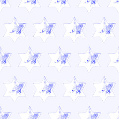 Seamless Watercolor Stars Pattern. Magic Festive Background. Hand Drawn Doodle Stars. Baby Design. Abstract Rapport for Wallpaper, Textile, Linen, Wrapping, Posters, Cards, Banner. New Year, Birthday