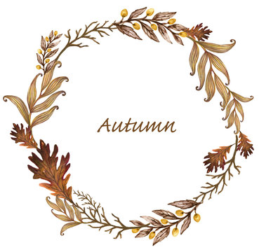 Colorful Hand drawn watercolor gouache illustration Autumn and Fall Wreath