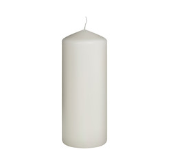 Set of realistic vector white candles on white background. Cylindrical aromatic candle sticks.